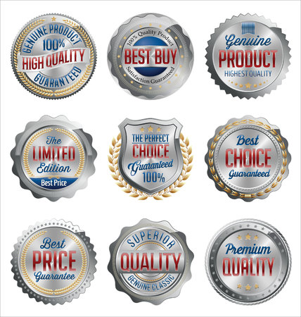 Badges and Stickers. Set of Luxury Silver with Gold, Red and Navy Details. Best Quality. Иллюстрация