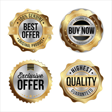 highest: Gold and Silver Badges. Set of Four. Best Offer, Buy Now, Exclusive Offer, Highest Quality.
