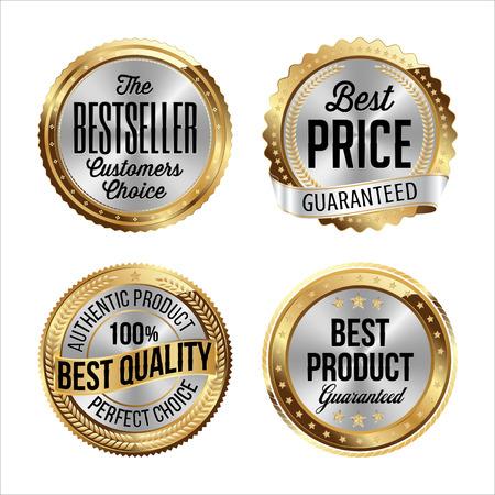 Goud en zilver badges. Set van Vier. Bestseller, beste prijs, beste kwaliteit, beste product.