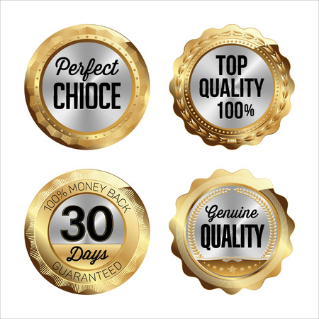 quality guarantee: Gold and Silver Badges. Set of Four. Perfect Choice, Top Quality 100, 30 Days Money Back, Genuine Quality.
