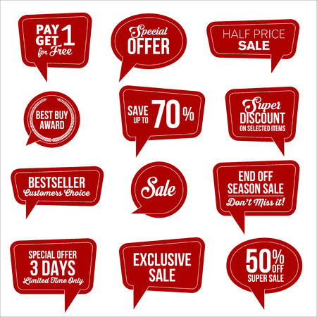 exclusive: Promotional Red Web Sale Stickers Collection.