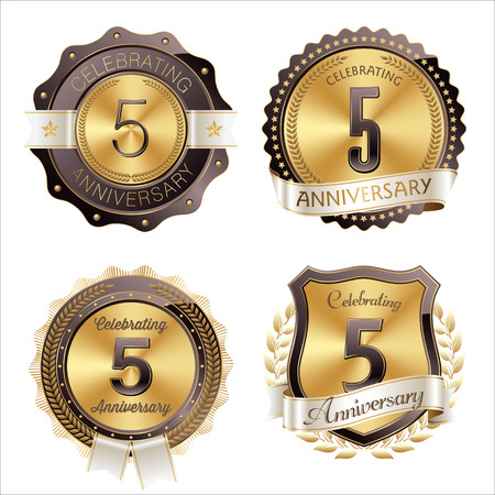 5th: Gold and Brown Anniversary Badges 5th Years Celebration
