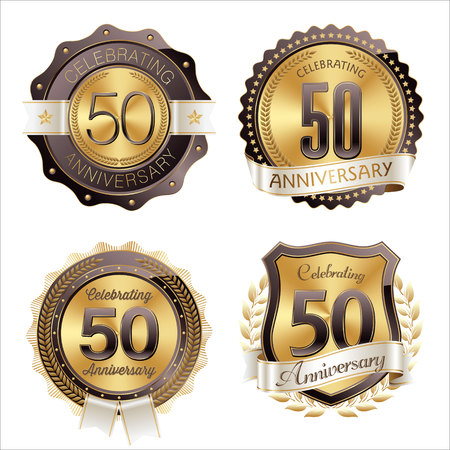 50th: Gold and Brown Anniversary Badges 50th Years Celebration Illustration