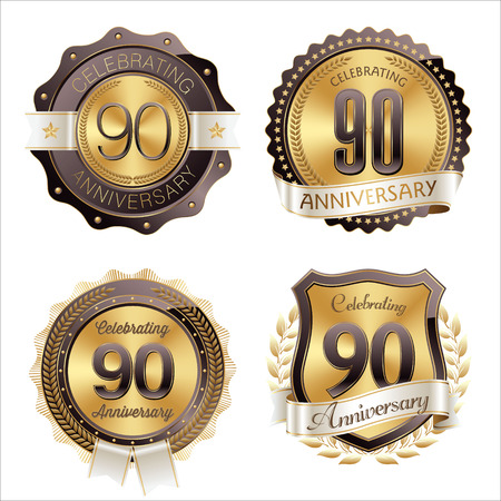 90th: Gold and Brown Anniversary Badges 90th Years Celebration