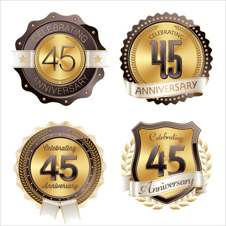 45th: Gold and Brown Anniversary Badges 45th Years Celebration