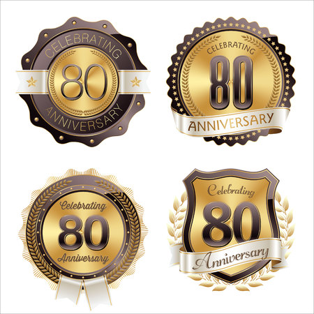 80th: Gold and Brown Anniversary Badges 80th Years Celebration