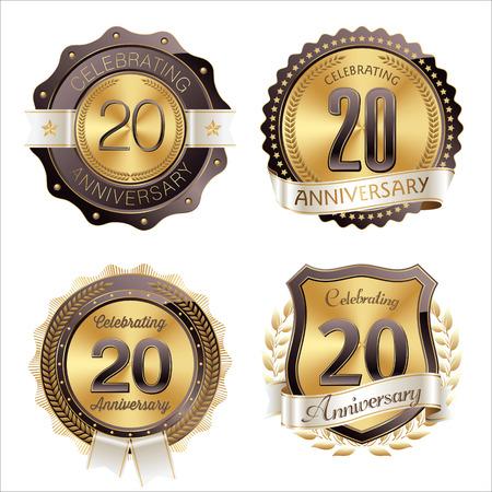 Badges d'anniversaire or et brun 20e anniversaire