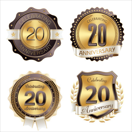 20th: Gold and Brown Anniversary Badges 20th Years Celebration