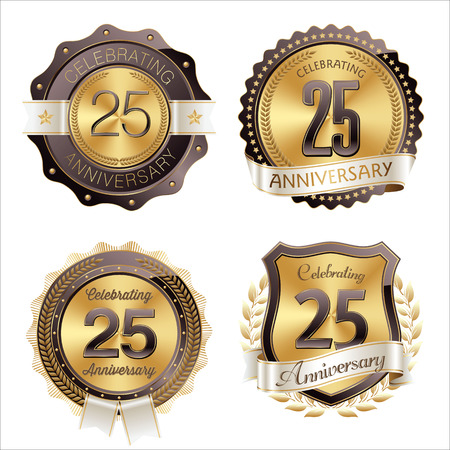 25th: Gold and Brown Anniversary Badges 25th Years Celebration