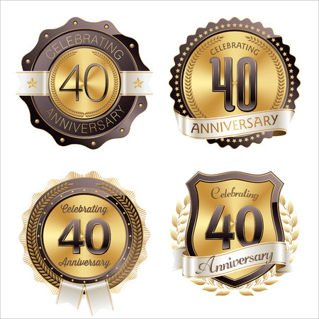40th: Gold and Brown Anniversary Badges 40th Years Celebration