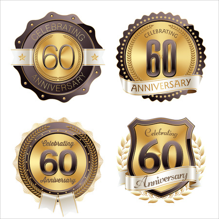 60th: Gold and Brown Anniversary Badges 60th Years Celebration Illustration