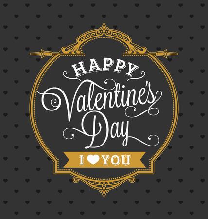 해피 발렌타인 데이 홀리데이 카드 골드 및 블랙