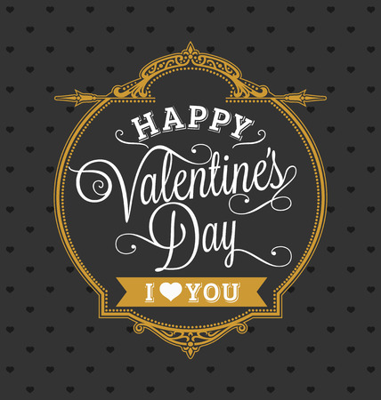 Happy Valentines Day Holiday Card Gold and Black