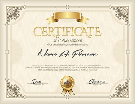 Certificaat van voltooiing Vintage gouden frame beige Stockfoto - 51292121