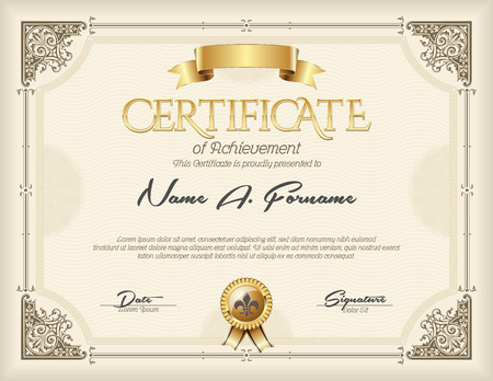 Certificate of Achievement Vintage zlatém rámu Beige