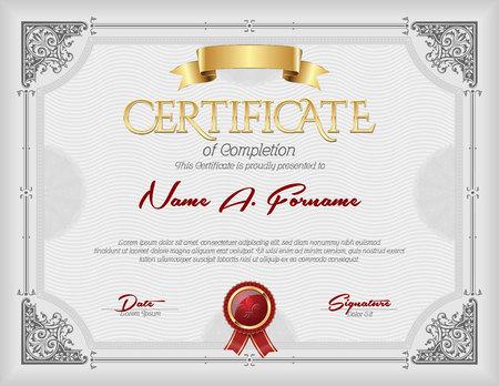 Certificate of Completion Vintage Gold  Frame Gray  イラスト・ベクター素材