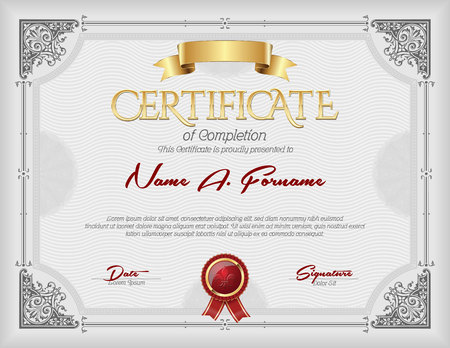 Certificate of Completion Vintage Gold  Frame Gray Stock Illustratie