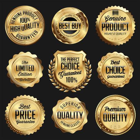 ゴールドと黒の光沢のある高級バッジ。豪華なセット。最良の選択。最高の価格。限定版。