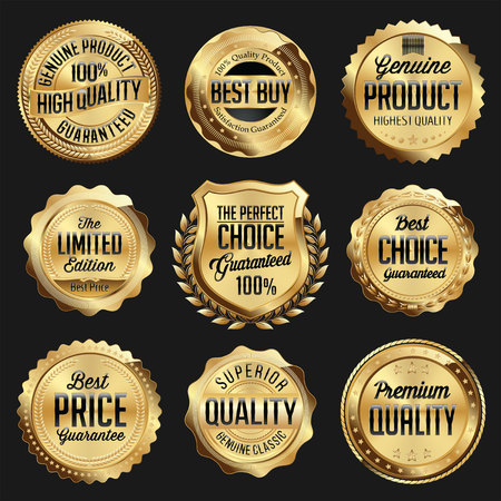 Goud en zwart glanzend Luxury Badge. Luxe Set. Beste keuze. De beste prijs. Beperkte editie.