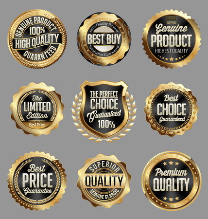 art product: Gold and Black Badge. Luxury Set. High Quality. Genuine Product. Best Buy.