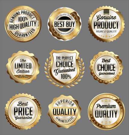 Gold and White Badge. Luxury Set. Perfect Choice. Superior Quality. Premium Quality.
