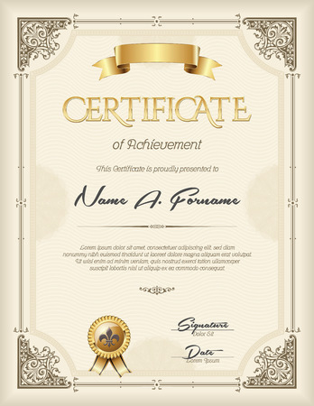 honour: Certificate of Achievement Vintage  Frame Beige Portrait