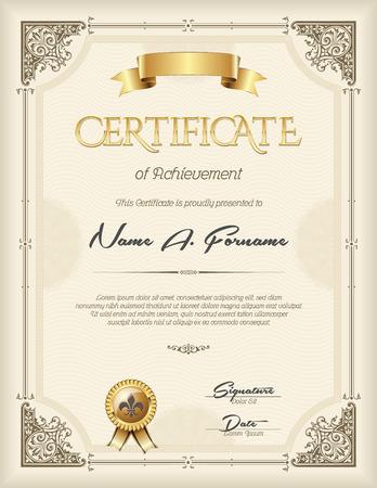 Certificate of Achievement Vintage  Frame Beige Portrait