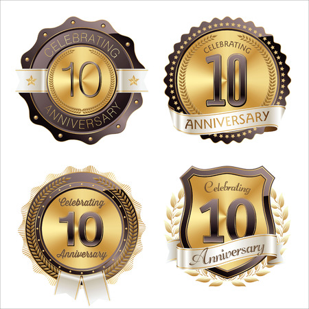 10th: Gold and Brown Anniversary Badges 10th Years Celebration Illustration