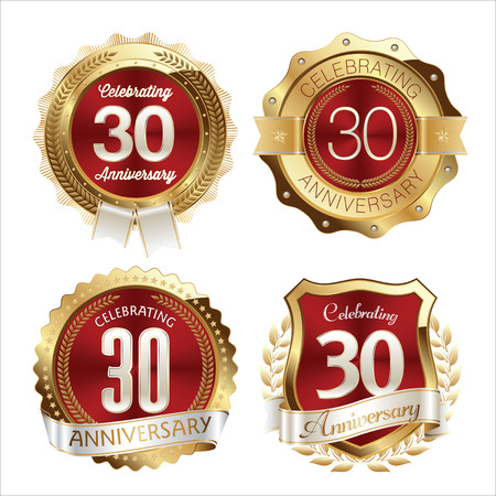 30th: Gold and Red Anniversary Badges 30th Years Celebration Illustration