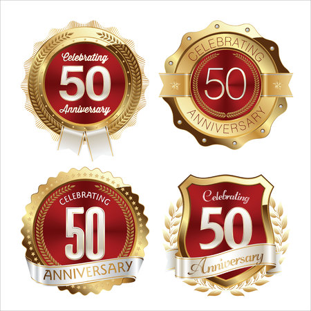 50th: Gold and Red Anniversary Badges 50th Years Celebration