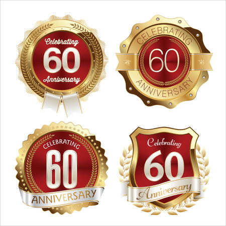 60th: Gold and Red Anniversary Badges 60th Years Celebration