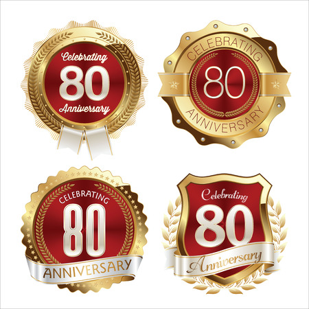 80th: Gold and Red Anniversary Badges 80th Years Celebration Illustration