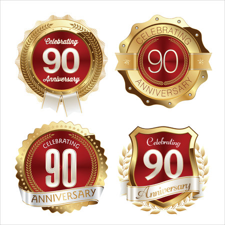 90th: Gold and Red Anniversary Badges 90th Years Celebration