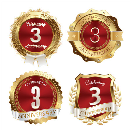 3rd: Gold and Red Anniversary Badges 3rd Years Celebration