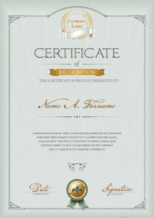 Certificat de reconnaissance Banque d'images - 53039617