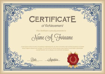 Certyfikat Achievement archiwalne ramki kwiatu. Królewski niebieski.