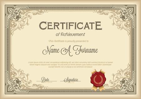 Certificado de Logro Marco floral de la vendimia. Marrón.