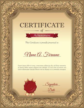 Certificate of Recognition Template met Vintage Floral Frame. Portret.