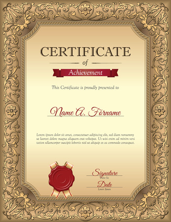 Certificate of Recognition Template with Vintage Floral Frame. Portrait.