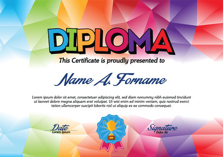 teaching children: Diploma Certificate Template with Colorful Frame for Children