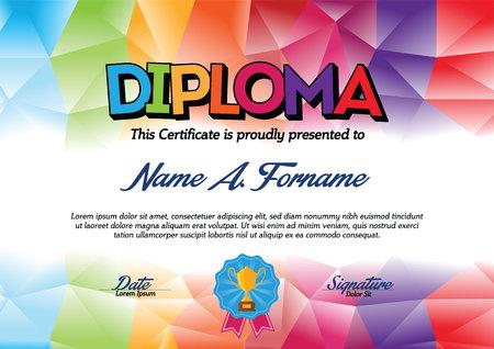 Dyplom Certyfikat Szablon z kolorowe ramki dla Dzieci