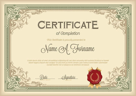Certificate of Completion Vintage Floral Frame. Green.