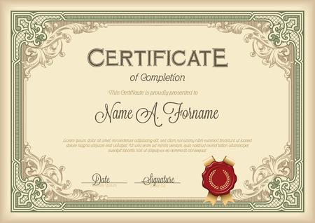 completion: Certificate of Completion Vintage Floral Frame. Green.