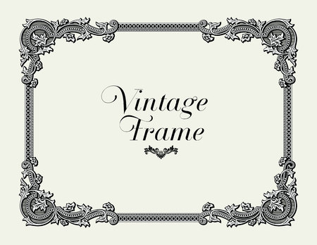Vintage Ornament Border. Decorative Floral Frame Vector. Vektorové ilustrace