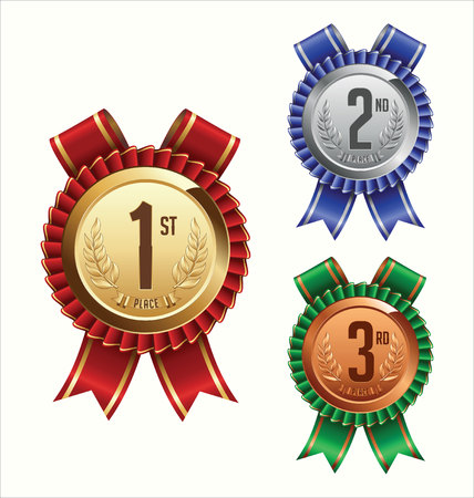 silver medal: Award Ribbon. Gold, Silver and Bronze. First, Second and Third Place.