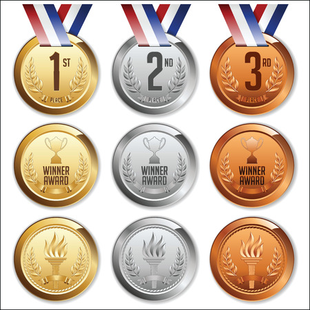 silver: Medals with Ribbon. Set of Gold, Silver and Bronze Medals.