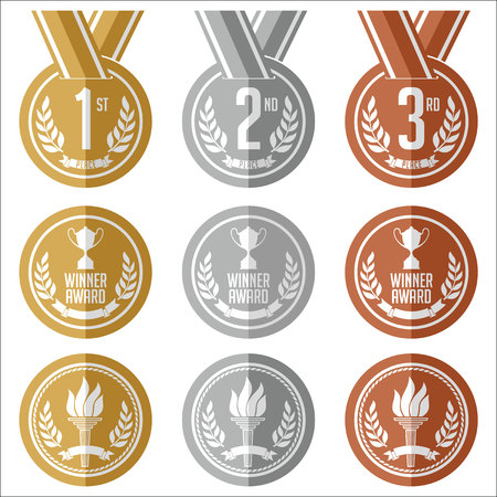 silver medal: Medals with Ribbon. Flat. Set of Gold, Silver and Bronze Medals.