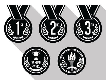 Medals with Ribbon. Flat. Set of Gold, Silver and Bronze Medals. Black and White. Illustration