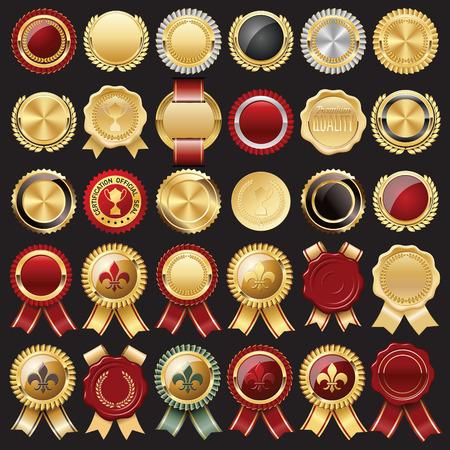 sello: Conjunto de sello de cera y Emblemas Certificado Vectores