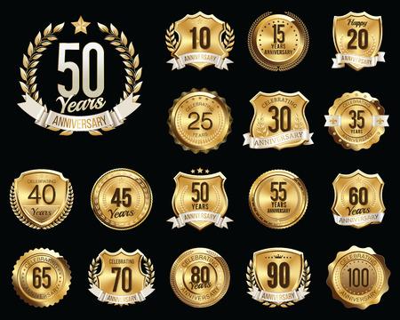 ten years jubilee: Set of Golden Anniversary Badges. Set of Golden Anniversary Signs. Illustration